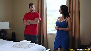 Sassy brunette MILF Alexis Fawx chooses an improper young lover