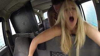 Busty british cabbie titfucked on backseat
