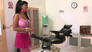 British golden-haired receives screwed clothed as a nurse in a three-some