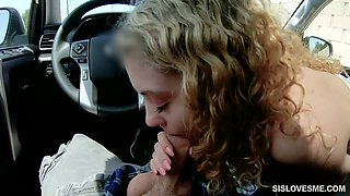 Nice curly teen Allie Addison is blowing hard penis in the car and enjoys eating sperm