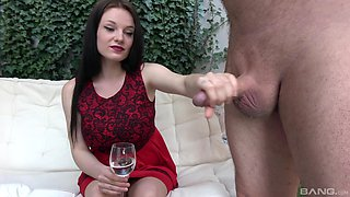 Fat older dude gets his dick pleasured by a cute brunette chick