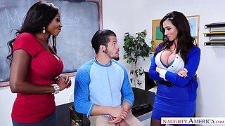 Naughty boy fucks his teacher and stepmom at school