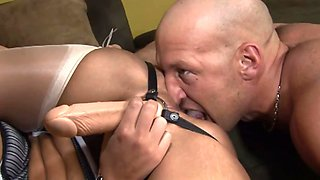 Blonde harlot has her strap-on while riding long manhood