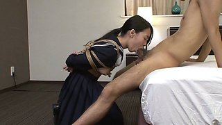 Little Japanese slut gets tied up and abused real hard