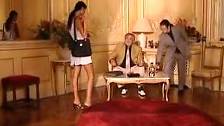 French babe fucked in a threesome and gets a hot facial