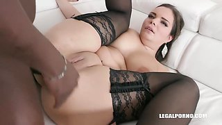 Busty chick, Sofia Lee is getting two black cocks inside her ass, at the same time