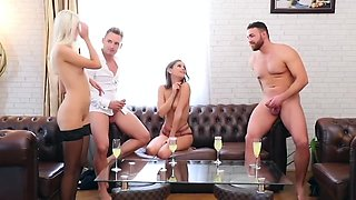 A couple of Swingers arranged on the bed real group Orgy