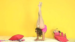 flexible contortionist in pantyhose