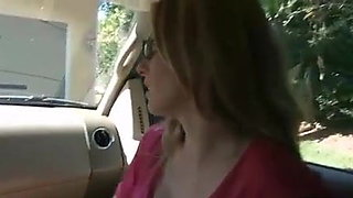 Mom Son blowjob in car