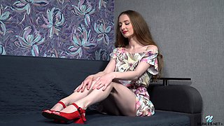 Cute brunette Milena Tissen pleasures her cravings with a dildo