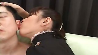 Kinky hot Japanese maid gets her pussy fucked hard