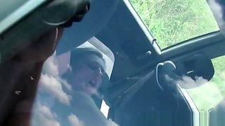 Hitchhiking eurobabe loves banging in car
