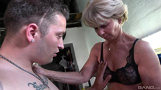 Skinny mature slut Stanislava enjoys getting fucked by a younger man