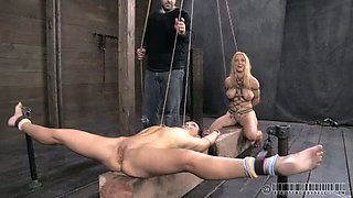 Two insanely horny chicks get punished really hard