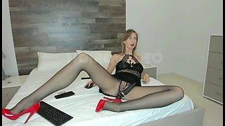 Wm 613 long legs &amp black pantyhose feet
