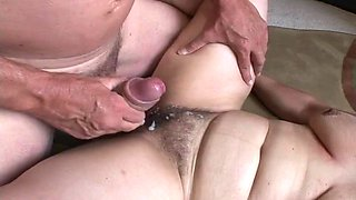 Chubby old lady fucks a fat dick guy and has a hot orgasm