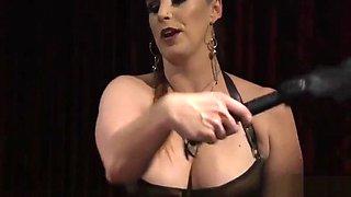 Big tit mistress pegging her slave