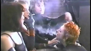 Mistresses and slave girl smoking