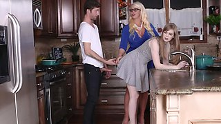 MILF is showing her stepdaughter how to blow a man