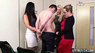 Cfnm dominas teasing and humiliating
