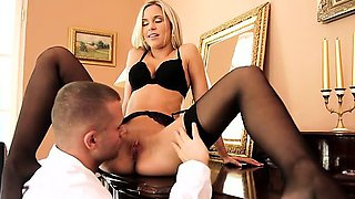 Join blonde babe Dido Angel as she seduces her man out of