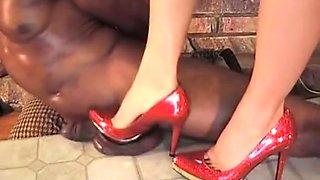 Mistress Stabs Slave's Balls with High Heels - Cock Trampling CBT