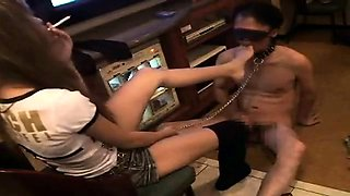 Sultry Asian dominatrix makes her horny slave lick her toes
