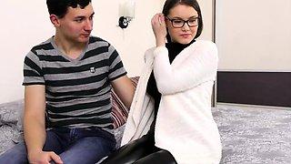 Hot virgin in latex pants Sasha Uralmasha undresses