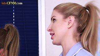 CFNM medical babes sucking off professors dick