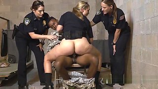 Black ARMY soldier has foursome with female cops