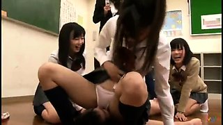 Wild Asian schoolgirls punish their teacher in the classroom