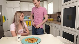 Horny babe Lily Larimar sucks a dick in the kitchen and eats cum