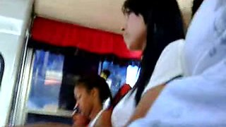 Sexy asian girl in Dickflash bus cought on candid cam by our public flash hunter