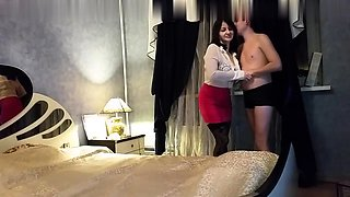 Young guy fucking brunette mature in stockings