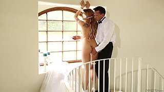 Wavy haired bride gets her face fucked before riding a dong