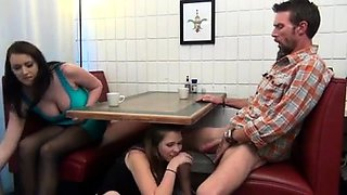 Naughty amateur teen gives a hot blowjob in a public place