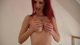 Fiery redheaded pornstar Ariel stripping sexy corset and