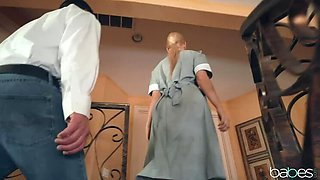 Coochie-curious Maid finally eats Boss' Pussy!