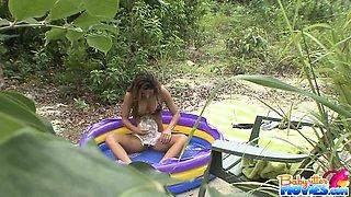 Adorable teen babysitter Nicole Grey gets caught shaving