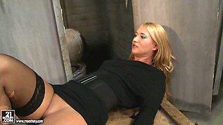 Kathia Nobili spanking a hot babe in public toilet