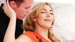 Blonde hottie with nice booty Moka Mora is fucked on the table till dude cums
