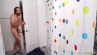 BRAZZERS Gloryhole Shower Curtain & Hard Anal