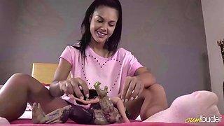 charming latina apolonia lapiedra plays dolls for real