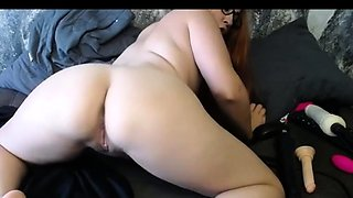 busty bbw dildoing her ass and pussy