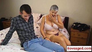 Sam's big dick squirted a amount of jizz on old woman Savana