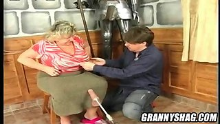 Giant tit granny vs a sex machine