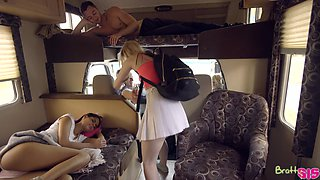 FFM sex on in the camping bus with sluts Katya Rodriguez and Lily Rader