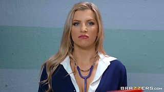 Sexy doctor Ashley Fires adores sex and a blowjob with her patient