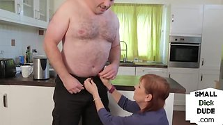 Small dick domme wanking her naked subject in office room