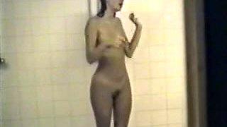 Cute girl in the locker room shower - Voyeur (JJ)